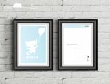"""Postkarte """"Katze mit Ballon"""""""